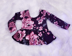 Long sleeve purple peplum