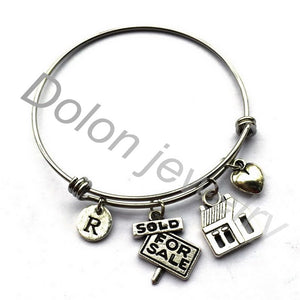 Sold For Sale House Real Estate Agent Bracelet-Realtor Charm Expandable Wire Bangle Gifts - Elite1253