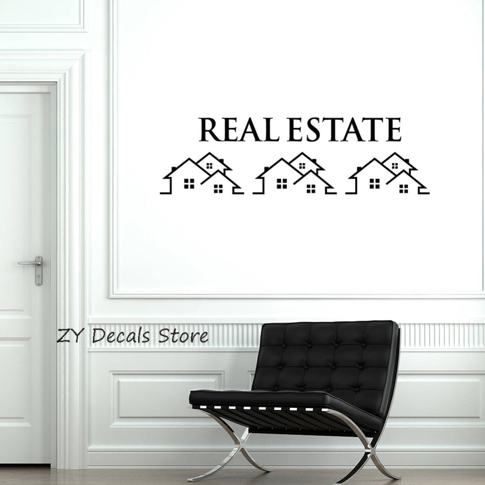Real Estate Vinyl Wall Decal Property Houses Realtor Broker Sign Stickers Mural Modern Wall Window Decoration Mural Decals S676 - Elite1253