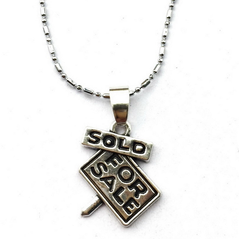 For Sale Necklace Sign Charm New First Home Keepsake Real Estate Agent Jewelry Sold/New House Gift - Elite1253