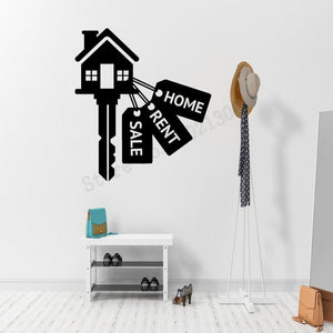 Real Estate Rent Sale Keys House Wall Sticker Vinyl Art Removeable Poster Mural Livingroom Bedroom Decoration Decals LY1133 - Elite Learning Academy