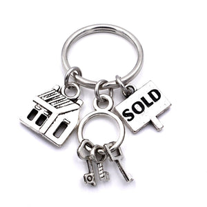 Real Estate Agent Keys Keychain House Keys Sold Charms Realtor Jewelry Keyring Gifts for Women Men - Elite1253