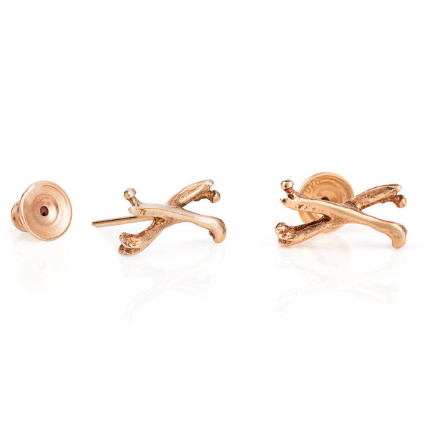 Rose Gold Little Crossbones Stud Earrings