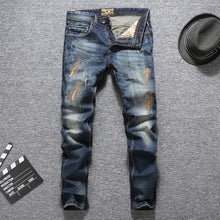 Blue Color Men Jeans Slim Fit Ripped Jeans