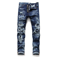 Dark Blue Denim Bike Jeans Men Fashion Ripped Destroy 2020 Autumn Winter Straight - Dubbs Alpha League