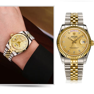 Holuns Men Watches 2018 Luxury Top Brand Gold Diamond Role Quartz Stainless Steel Calendar Relogio Masculino Wrist Watch Clock - Dubbs Alpha League