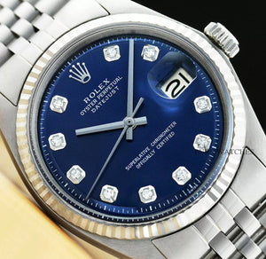 MENS ROLEX DATEJUST 18K WHITE GOLD & STAINLESS STEEL BLUE DIAMOND DIAL - Dubbs Alpha League