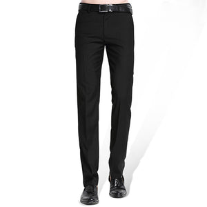 Men's Black Suit Separate Pant Flat-Front Straight Slim-fit Business Straight Male Trousers Thin Office Wear Solid Dress Pants - Dubbs Alpha League