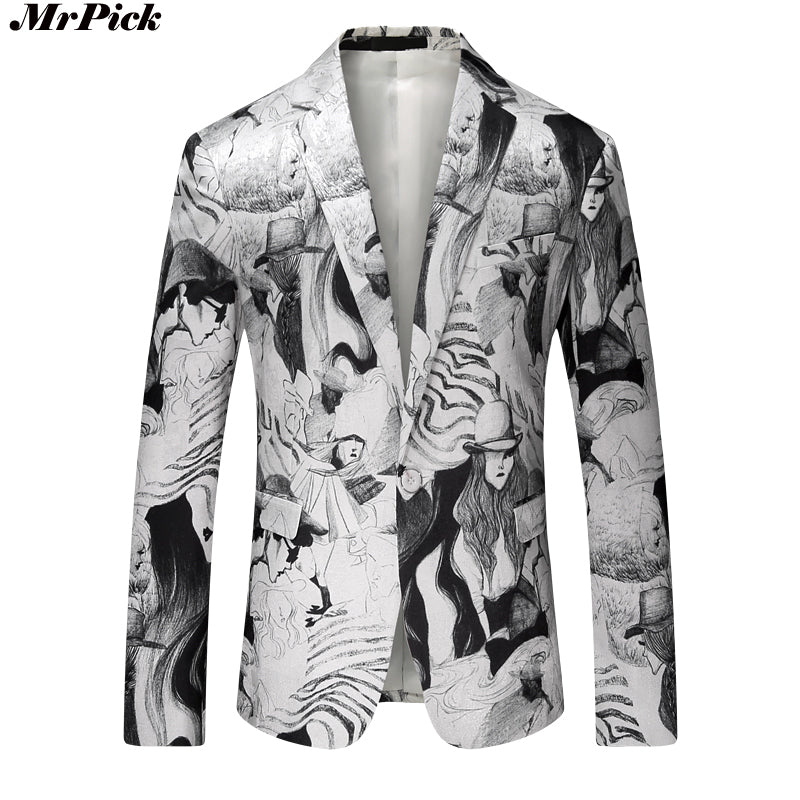 New Men Printed Blazer Fashion Casual Designer Brand European Style Blazer - Dubbs Alpha League