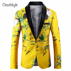 Fashion Animal Printing Male Blazer Cloudstyle 2018 Men's Digital Printing Leather suit  Chinese Style Slim Jacket Men