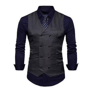 Men Vest Solid Color Casual Slim Fit Gilet Homme Spring Fashion Style Double-Breasted Colete Masculino Formal Business Waistcoat - Dubbs Alpha League