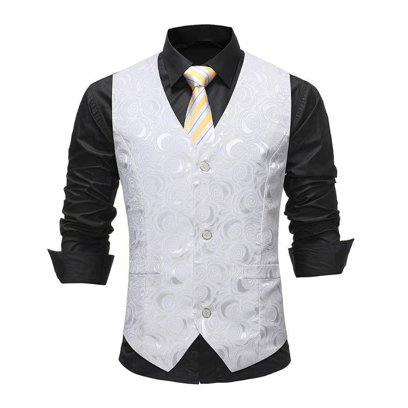 Men Floral Slim Suit Dress Vest Gilet Casual Sleeveless Formal Waistcoat - Dubbs Alpha League