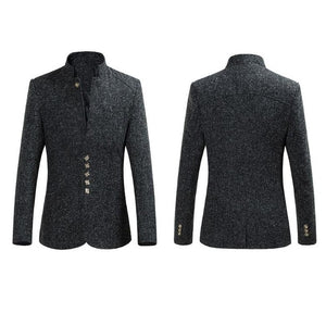 New Arrivals Men's Fashion Casual Blazer Single Breasted Stand Collar Men Suit Slim Fit Formal Jacket Plus Size M-4XL - Dubbs Alpha League