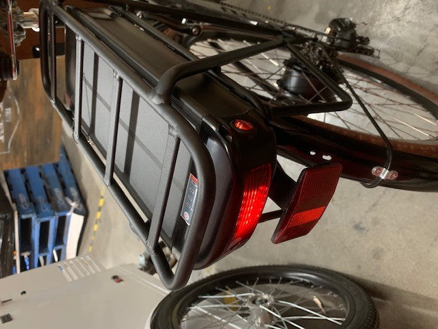 Electric ice cream & drinks bike with battery powered freezer with sliding doors