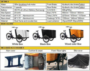 Electric cargo bike 15A battery hydraulic brakes high torque motor fully assembled