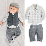 Styled Vintage Boy - Fashion Toddler Baby Boy Gentleman Vest/Waistcoat+ Pants + Plaid Suit 3PCS
