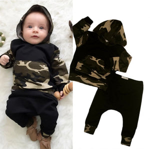 Camouflage Baby - Baby Toddler Boys Long Sleeve Hooded Tops + Pants