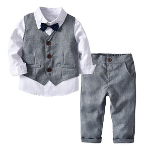 007 - Toddler Boy Formal Suit Vest + Shirt + Trousers