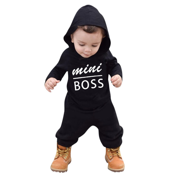 Mini Boss - Hoodies Fashion Toddler Baby Boys Romper Jumpsuit