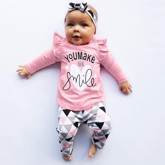 Smile - 3pcs top + pants + headband set Newborn to Toddler Baby Girls