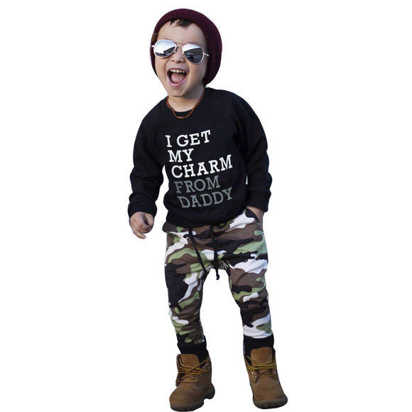 Charming - 2pcs Tops+Camouflage Pants Toddler Baby Boy