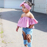 Cool as Chic - Baby Girls clothing set Toddler Girl Fashion T-Shirt+Tops+Headwear
