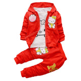 Hello Kitty Hoodied Jacket T shirt And Pants - 3 Pcs Toddler Girl