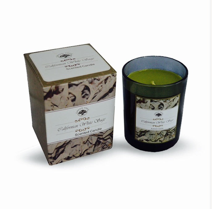 Californian White Sage scented green candle