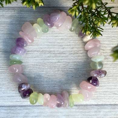 Amethyst, New Jade and Rose Quartz Bracelet