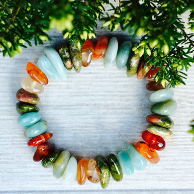 Carnelian, Unakite and Amazonite Bracelet