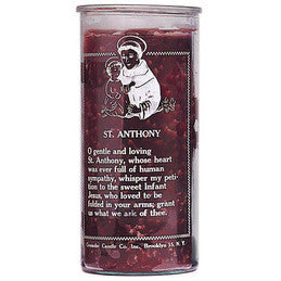 St. Anthony - 14 Day Glass Prayer Candle