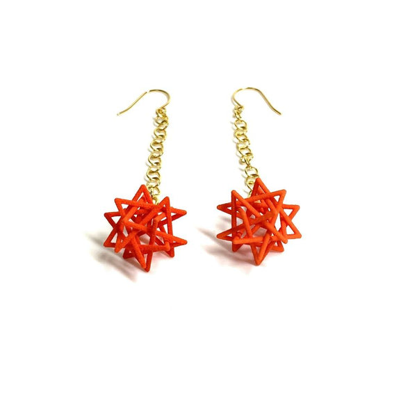 Tetrahedron Compound Earrings with Chains
