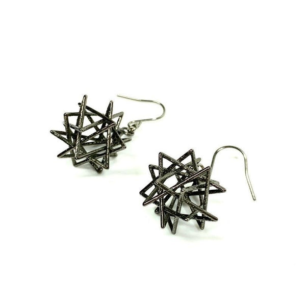 Tetrahedron Compound Earrings without Chains