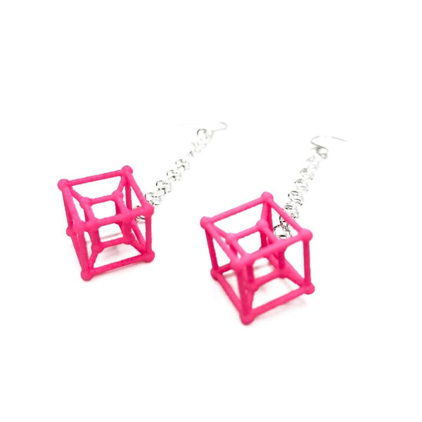 Hyper Cube Earrings with Chains