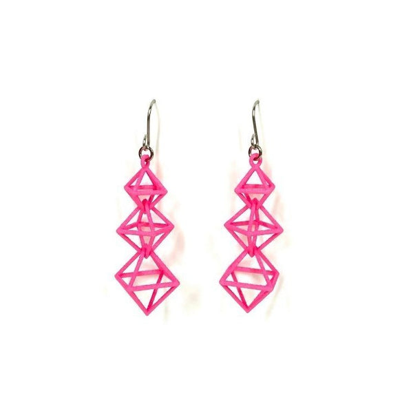 Dangling Octahedra Earrings