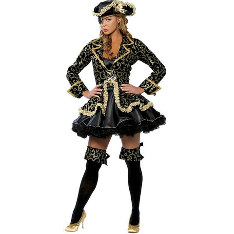 Halloween black gilding pattern pirate cosplay costume