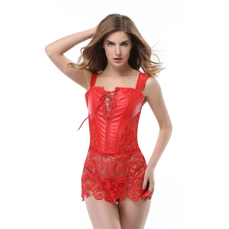 Black Red classic imitation leather openwork lace ribbon corset dress