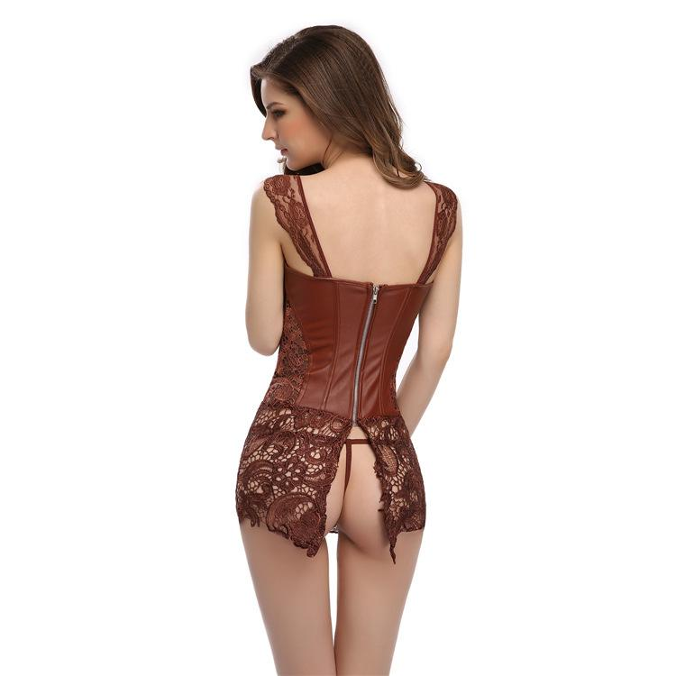 Brown fashion imitation leather openwork lace ribbon corset dress