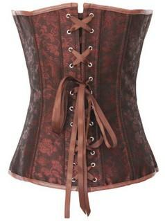 Brown retro Gothic zipper body sculpting corset