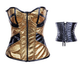 Gold Silver leather zip-up waist tight-fitting corset