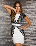 White Red lace fake two-piece slim hip halter tight plus size club dress