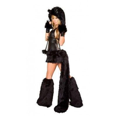 Deluxe Black Furry Cat Corset Costume