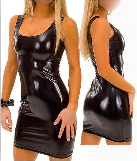 Black vest bag hip skirt patent tight club fashion  leather lingerie