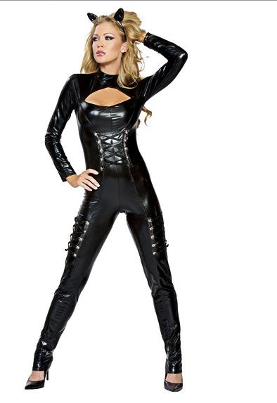 New long-sleeved one-piece patent leather catwoman role-playing costumes