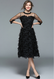 Tassel feather net yarn princess Black Sexy Plus Size Dress