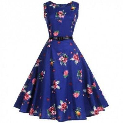 Fashion elegant blue Waist Thin Printed Plus size Dresses