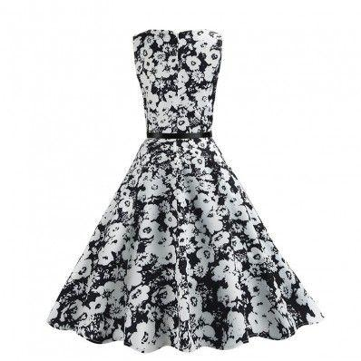 Black and White fashion elegance Printed pattern Plus size Dress