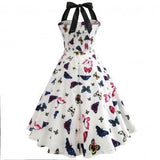 Beautiful elegant Butterfly pattern Halter Slim Dress
