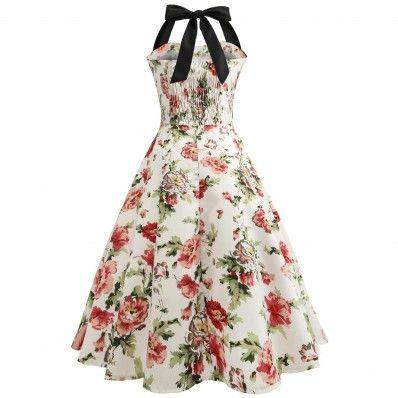Beautiful elegant printing Splicing Halter Slim Dress