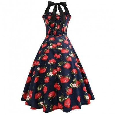 Hot beautiful printing Splicing Halter Slim Dress